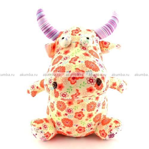 Мягкая игрушка Корова с красными цветами
