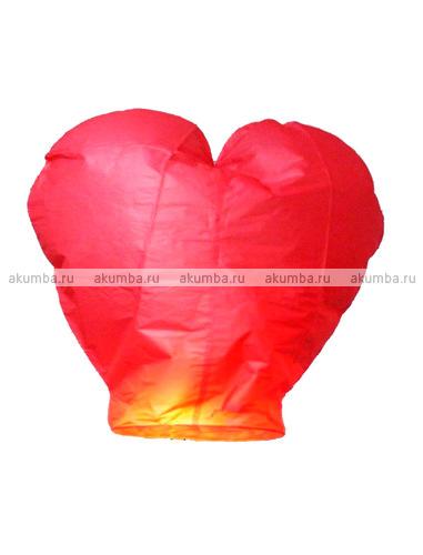 Небесный фонарь сердце 2D, красное